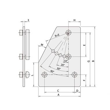 可调节角度的固定板-左斜口